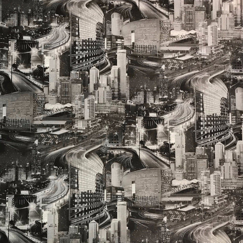Wallpaper gray silver metallic textured urban New York City Mural pattern 3D