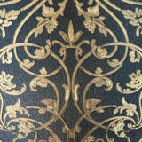 8545-03 Navy Blue Gold Damask Wallpaper
