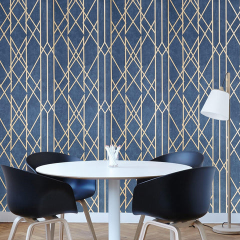 WM21514401 Wallpaper navy Blue bronze metallic geometric lines Modern