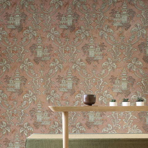 8578-02 Wallpaper Oriental Scenic Asian Orange Copper Gold Metallic textured
