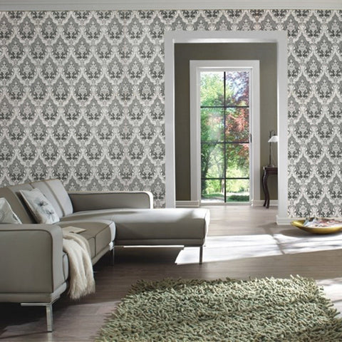 3509-12 Damask Gray White Expanded Vinyl Textured Wallpaper