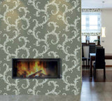 76064 Fossil Gray Woven Textured Royal Victorian Wallpaper