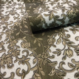 8501-10 Bronze Olive White Floral Wave damask Wallpaper