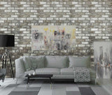 5522-01 Vinyl Wallpaper textured brown gray white rustic realistic faux brick