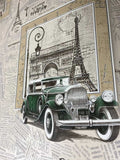 C893-01 Retro Car Newspaper Wallpaper Roll