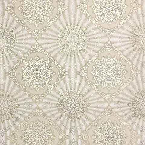 8509-13 Cream Ivory Gold Tile - Quadruple roll Wallpaper