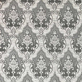 3509-12 Damask Gray Expanded Vinyl - Quadruple roll Wallpaper