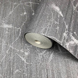 125051 Wallpaper charcoal Gray metallic Textured Plain faux industrial metal lines 3D
