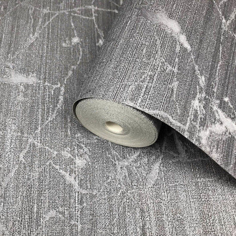 125051 Portofino Charcoal Gray Plain Textured Metallic Wallpaper