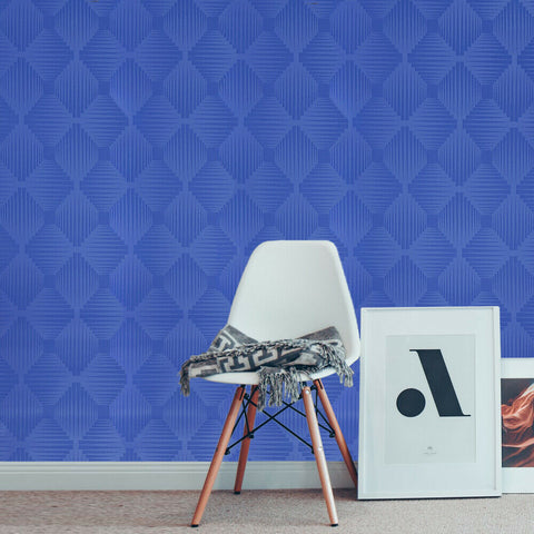 WM46992901 Modern Wallpaper 3D illusion blue geometric square wallcoverings