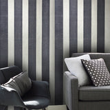 175002 Onyx Blue Silver Metallic Stripe Flock Wallpaper