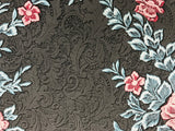 M328-10 Floral Rose Black Glitter Wallpaper
