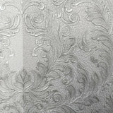 4506-10 Striped Victorian damask off white gray cream Textured Wallpaper
