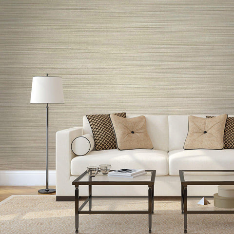135037 Wallpaper beige Textured Plain horizontal faux grasscloth lines - wallcoveringsmart
