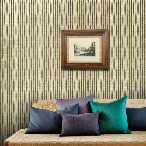 165020 Brass Gold Metallic Flock Textured Lines Wallpaper