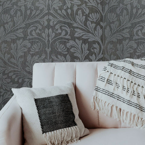 215006 Portofino Floral Damask Glassbeads textured charcoal gray silver Metallic lines Wallpaper