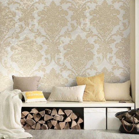 500004 Portofino Gold Beige Vintage Damask Textured Wallpaper