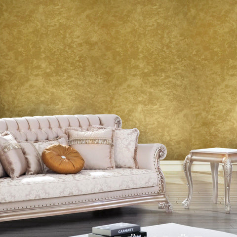 300046 Portofino Gold Plain Textured Yellow Wallpaper
