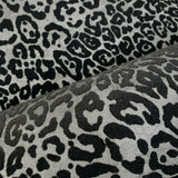 115017 Wallpaper black silver Metallic Textured Flocked jaguar leopard animal velvet 3D - wallcoveringsmart