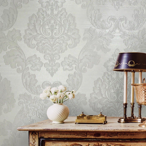 125002 Portofino White Cream Silver Victorian 3D Damask Wallpaper