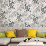 5614-10 Floral Gray Taupe Rose Wallpaper