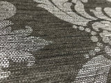 75708 Black Silver Damask Faux Grasscloth Texture Wallpaper