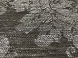 75708 Charcoal Silver Damask Faux Grasscloth Texture Wallpaper