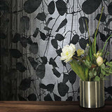 135056 Velvet Gray Flock Charcoal Black Leaf Flocked Wallpaper