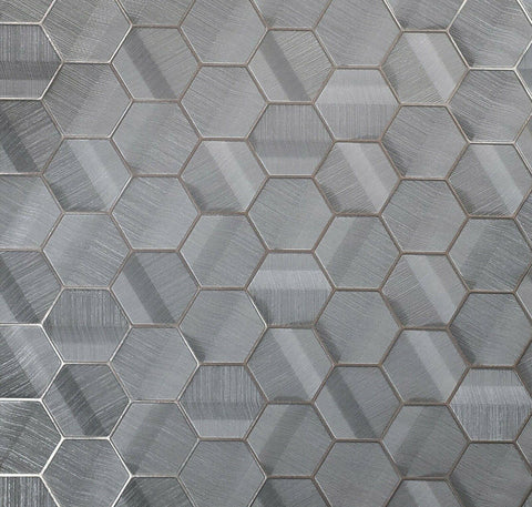 Z44804 Zambaiti Parati Lamborghini Hexagon Charcoal gray bronze metallic textured Wallpaper Geometric