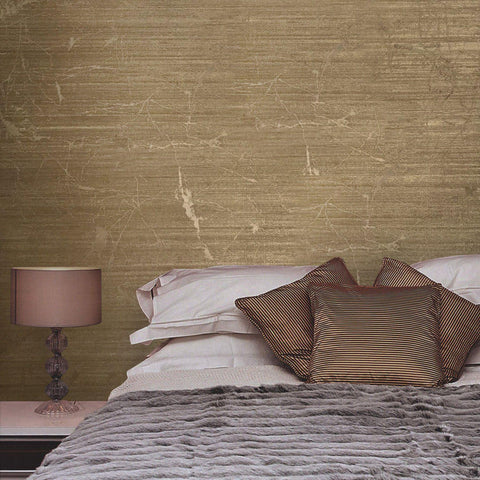 125052 Portofino Plain Bronze Metallic Brown Textured Wallpaper