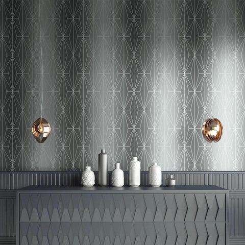 WM70301401 Geometric lines wallpaper Ombre Gray Silver Metallic Textured - wallcoveringsmart