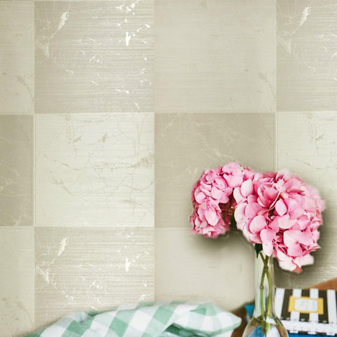 125024 Tile Square Gold Cream Plaid Textured Wallpaper