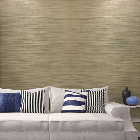 135039 Portofino Grasscloth Beige Yellow Stria Stripes Wallpaper