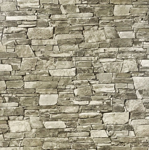 5547-04 Brick Gray Brown Stone Rustic Wallpaper