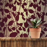 135055 Gold Burgundy Flock tree Leaf Wallpaper Flocking leaves - wallcoveringsmart