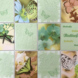 C932-04 Green Butterfly Floral Tile textured Wallpaper