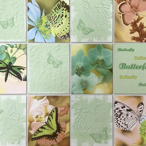 C932-04 Green Butterfly Floral Tile textured Wallpaper - wallcoveringsmart