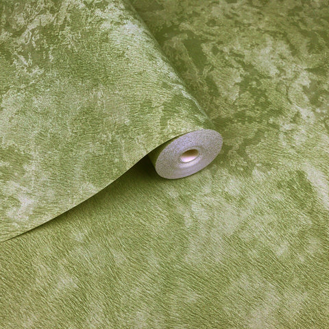500031 Green Plain Lime Textured faux fur Wallpaper