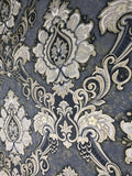 8540-13 Gray Gold Blue Damask Wallpaper