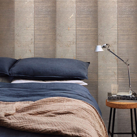 125036 Wallpaper Bronze Metallic Textured Striped Modern stripes