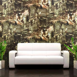 L487-08 Gold Night City Capital Modern Textured Wallpaper Roll