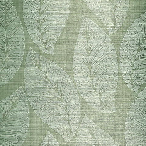 135004 Portofino Leaf Floral Green Gold Textured Wallpaper