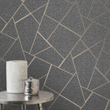 WM4228301 Wallpaper Gray Charcoal Black Metallic Textured Geometric Triangle Glitter