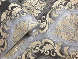 6509-10 Paper Wallpaper gray black beige gold metallic textured Vintage damask