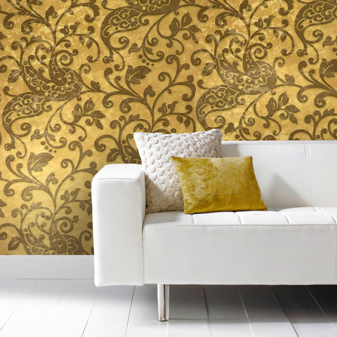 500011 Portofino Gold Brown Bronze Floral Damask Modern Wallpaper