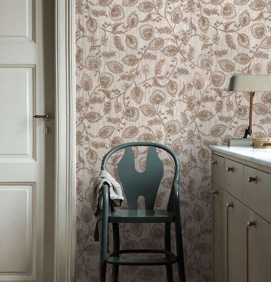 5536 02 Cream Floral Expanded Vinyl Double Roll Wallpaper