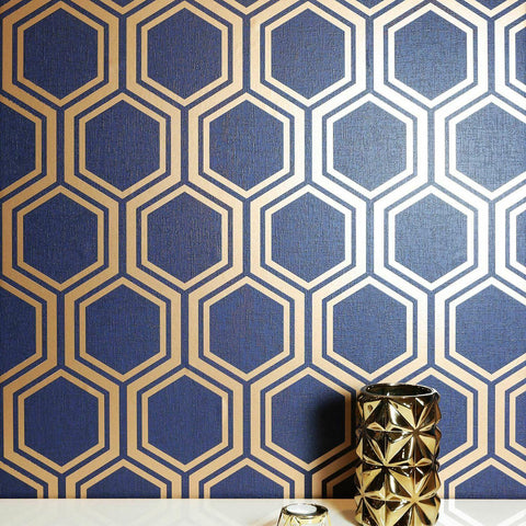 WM90660401 Geometric hexagon wallpaper Navy blue gold metallic 3D