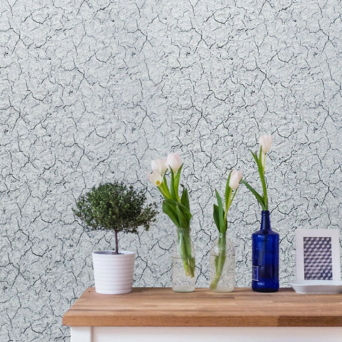 Wallpaper textured modern faux cracked plaster White Grey Black silver