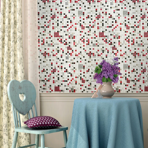 5584-10 Mosaic Tile White Red textured Wallpaper