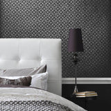 700016 Gray Silver Metallic Monogram Wallpaper